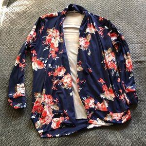 Tops - Navy floral cardigan